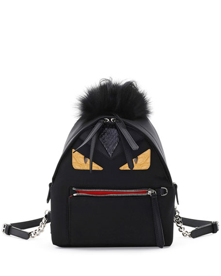 Fendi Mini Monster Mohawk Backpack, Black