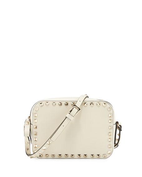 Valentino Rockstud Vitello Leather Camera Crossbody Bag, Ivory