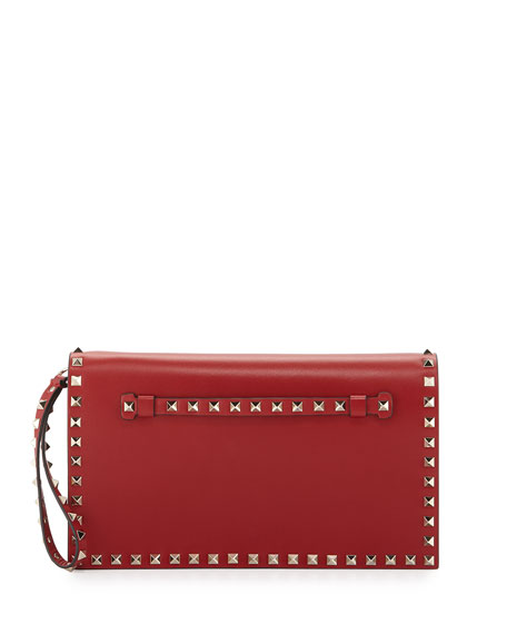 Valentino Rockstud Flap Wristlet Clutch Bag, Rosso Red