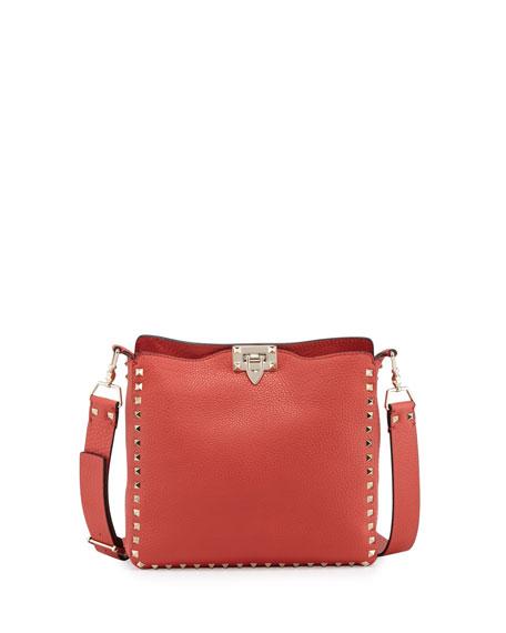 Valentino Rockstud Small Vitello Crossbody Bag, Deep Coral