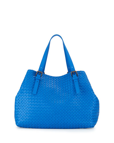 Bottega Veneta Large A-Shape Leather Tote Bag, Bluette