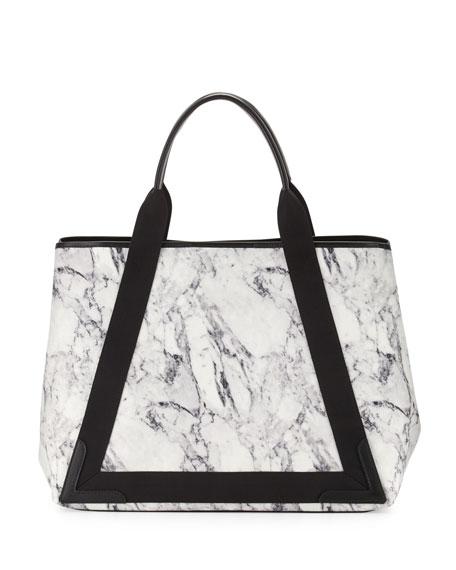 Navy Cabas Medium Marble-Print Tote Bag, White/Navy