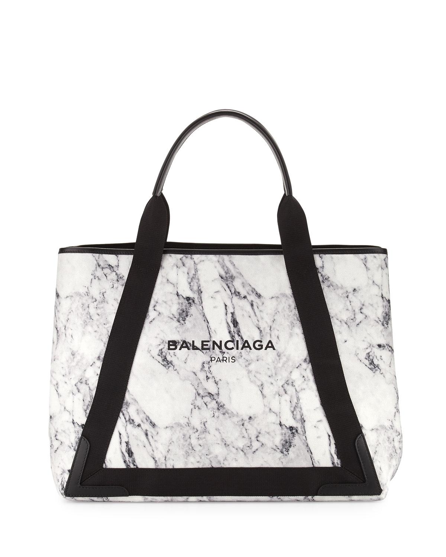d8956600044a Balenciaga Navy Cabas Medium Marble-Print Tote Bag