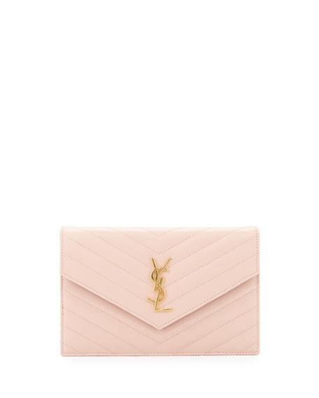 Saint Laurent Monogram Leather Small Wallet-on-a-Chain Bag, Pale Pink