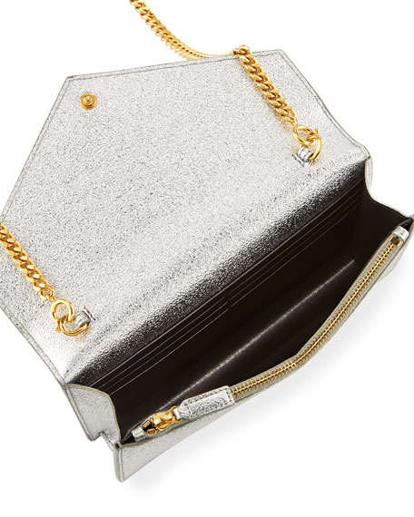 Monogram Small Pebble Leather Wallet-on-Chain Bag, Silver/Gold
