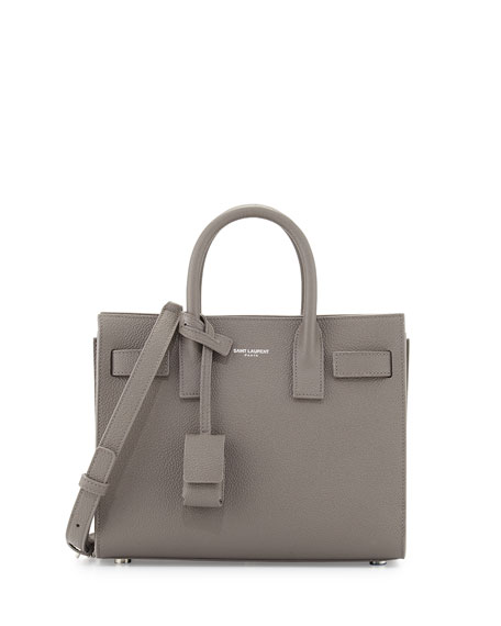 Saint Laurent Sac de Jour Pebbled Leather Nano Satchel Bag, Gray