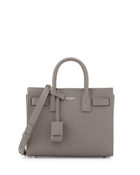 Saint Laurent Sac de Jour Nano Leather Satchel Bag, Gray