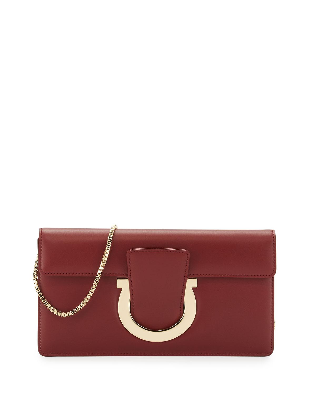 3ef278c1f1ba Salvatore Ferragamo Thalia Cocktail Leather Clutch Bag
