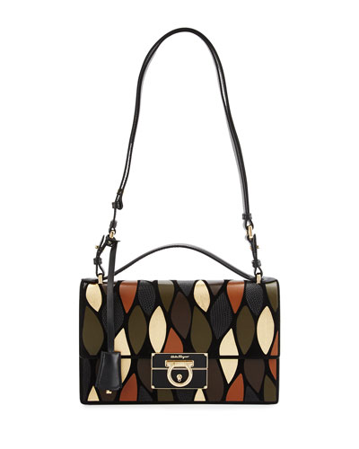 Aileen Lock Story Patchwork Shoulder Bag, Nero/Cacao