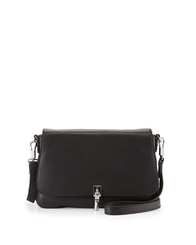 Cynnie Mini Leather Crossbody Bag, Black