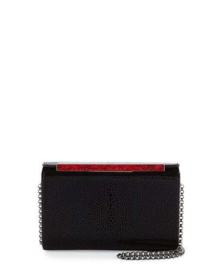 Vanite Small Patent Clutch Bag, Black