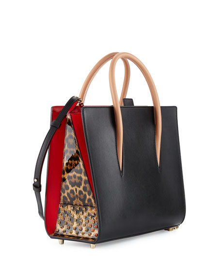 Louboutin Paloma Medium Triple Gusset Tote Bag Black Neiman Marcus