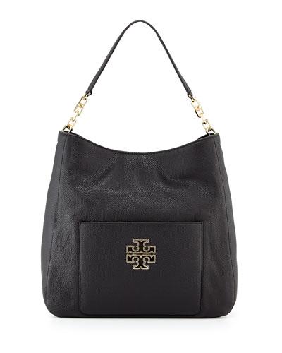 Britten Leather Hobo Bag, Black
