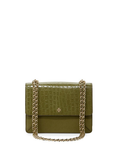 Robinson Crocodile-Embossed Convertible Shoulder Bag, Olive