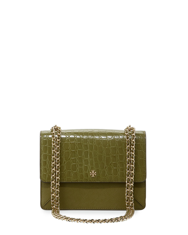 7f31e328b6387 Tory Burch Robinson Crocodile-Embossed Convertible Shoulder Bag ...