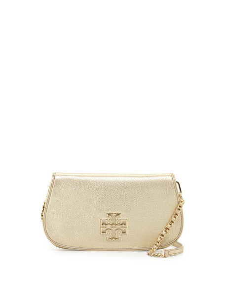 Britten Metallic Leather Clutch Bag, Gold