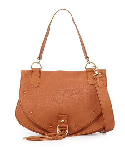 Leather Tassel-Flap Crossbody Bag, Hazel
