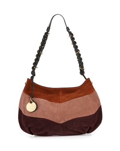 Braided Suede Patchwork Hobo Bag, Grape