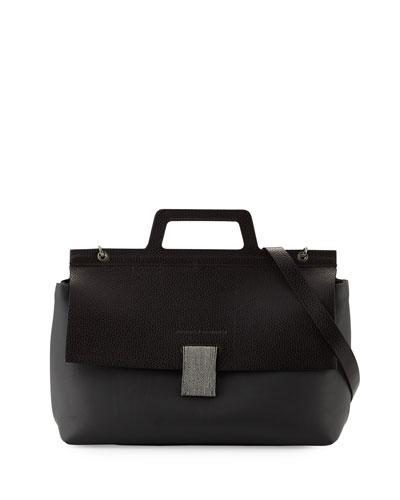Leather Flap-Top Handle Satchel Bag w/Monili Strap, Graphite