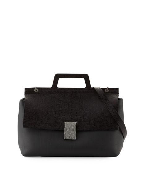 Brunello Cucinelli Leather Flap-Top Handle Satchel Bag w/Monili
