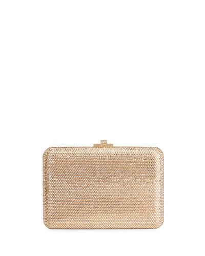 Slim Slide Crystal Evening Clutch Bag, Champagne Jet