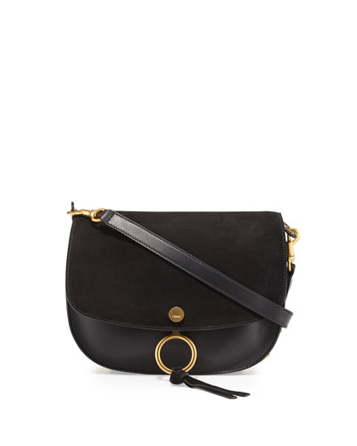 Kurtis Medium Suede/Leather Studded Shoulder Bag, Black