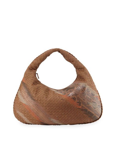 Bottega Veneta Veneta Large Shadow-Embroidered Snake/Cervo Hobo Bag, Beige