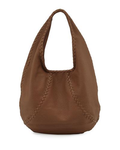 Cervo Large Leather Hobo Bag, Dark Brown