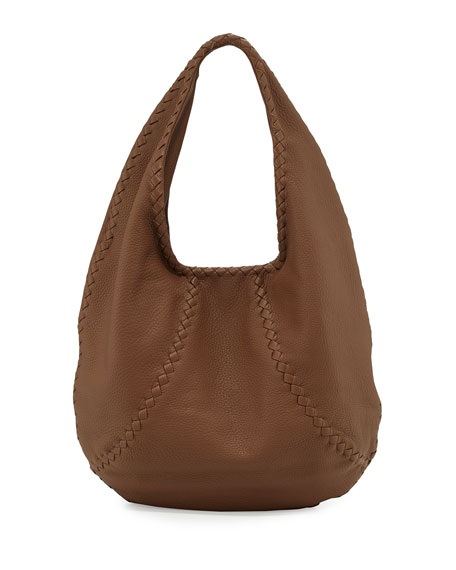Bottega Veneta Cervo Large Leather Hobo Bag, Dark Brown