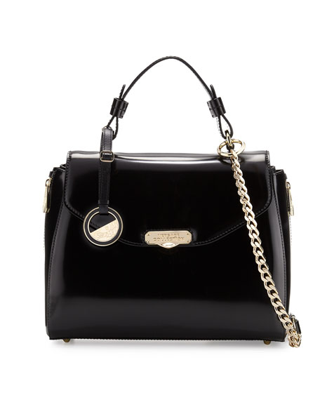 Versace Top-Handle Patent Leather Satchel Bag, Black