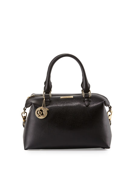 Double Top-Handle Leather Bag, Black