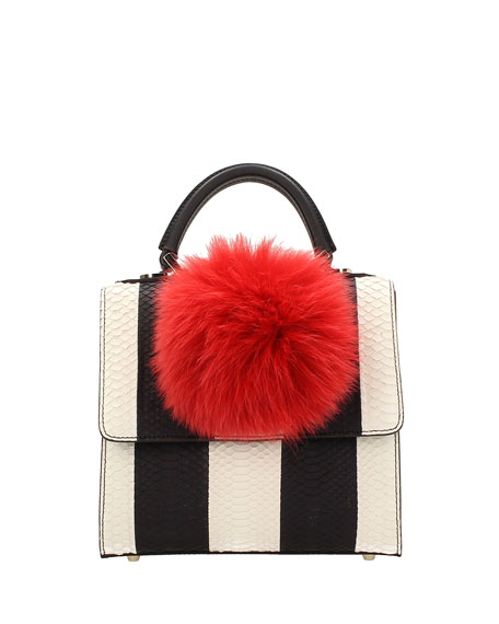 Mini Alex Bunny Striped Satchel Bag, Black/White