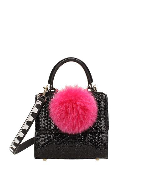 Micro Alex Snakeskin Bunny Bag, Black