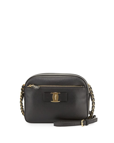Lydia Leather Bow Camera Bag, Black (Nero)