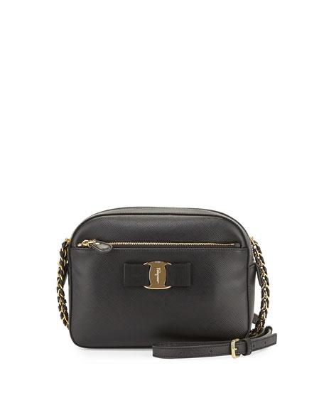Salvatore Ferragamo Lydia Leather Bow Camera Bag, Black