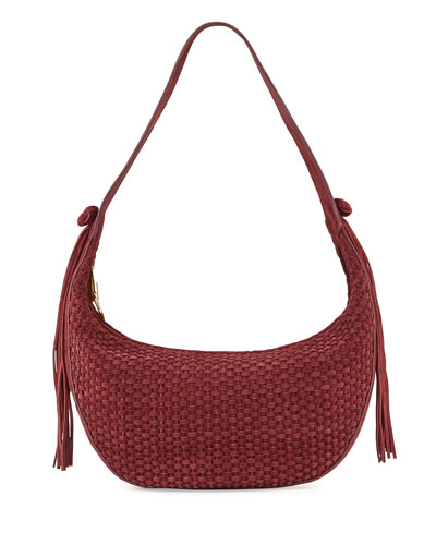 Zoe Woven Suede Hobo Bag, Bordeaux