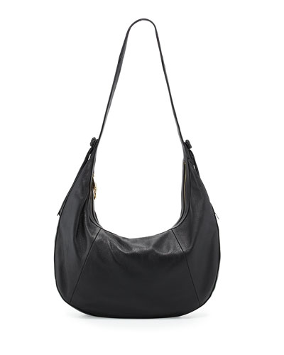 Zoe Large Leather Hobo Bag, Black