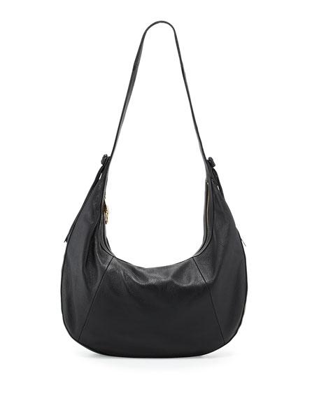Zoe Large Leather Hobo Bag, Black