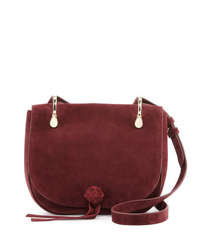 Zoe Suede Saddle Bag, Bordeaux