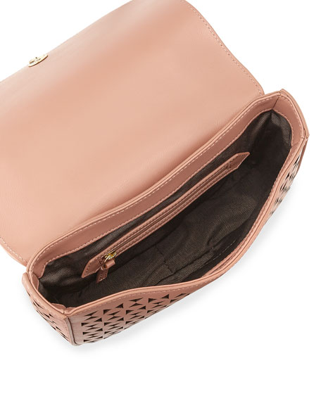 Zoe Perforated Leather Saddle Bag, Twig/Wine