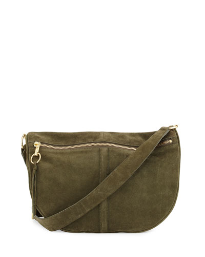 Scott Moon Suede Saddle Bag, Olive