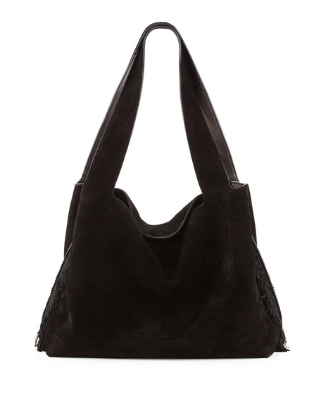 THE ROW Duplex Suede Satchel Bag, Black