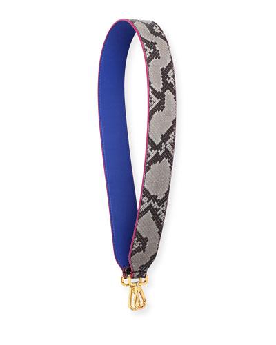 Python/Calf Leather Shoulder Strap for Handbag, Roccia/Blue