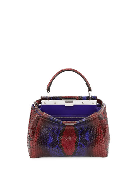 Fendi Peekaboo Micro Painted Python Satchel Bag, Red/Purple