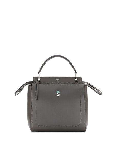 Fendi Dotcom Medium Leather Satchel Bag, Dark Gray