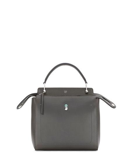 Fendi Dotcom Medium Leather Satchel Bag, Dark Gray