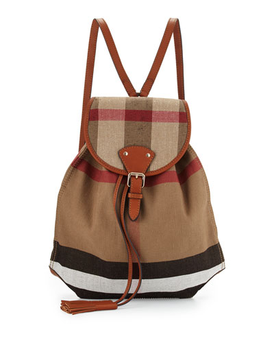 Medium Chiltern Canvas Check Backpack, Tan