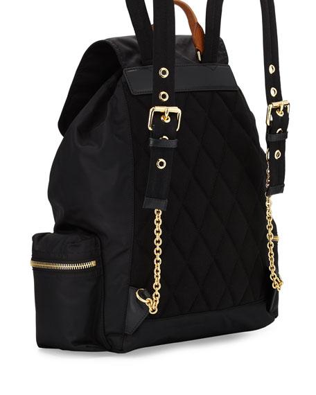 Medium Rucksack Runway Nylon Backpack, Black