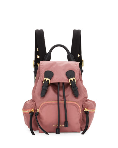 Runway Small Rucksack Nylon Backpack, Mauve Pink