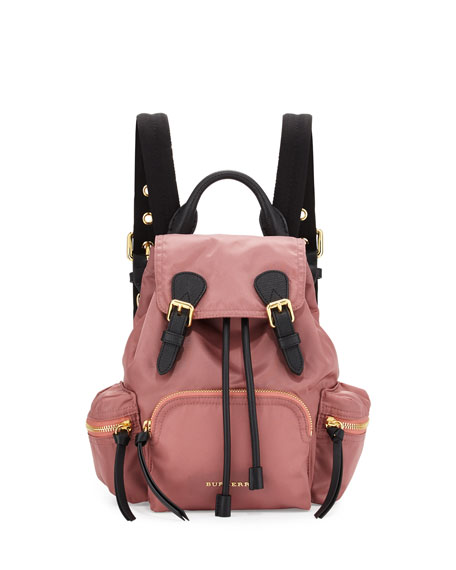 Burberry Runway Small Rucksack Nylon Backpack, Mauve Pink